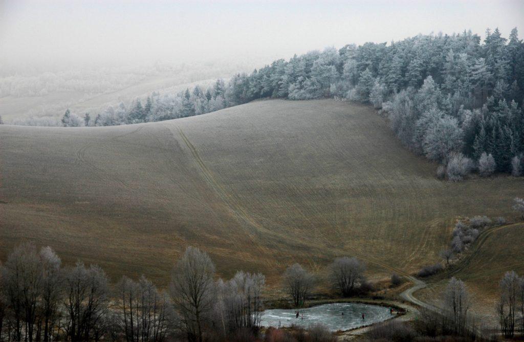 Kunický rybník v zimě