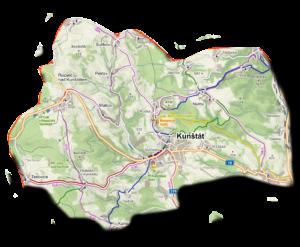 mapa Halasovo Kunštácko